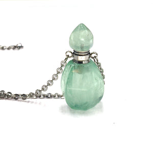 Green Fluorite Crystal Mini Bottle Gemstone Necklace for Essential Oil Perfume on Stainless Steel Chain