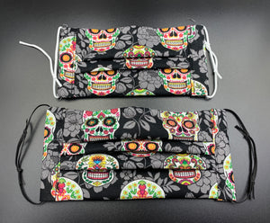 Skull Print Fun Cotton Print Face Mask with Filter Pocket (Adults & Kids Size Options)