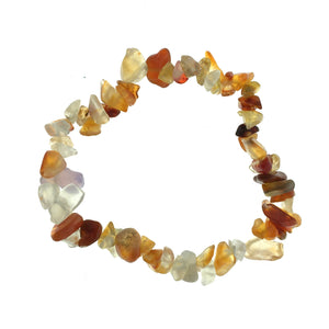 Carnelian Mixed Agate Stone Chip Small Bead Stretch Elastic Stone Bracelet