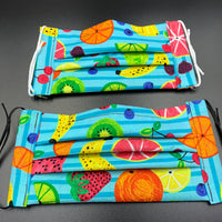 Fruit Print Colorful Summer Cotton Face Mask with Filter Pocket (Adults/Kids/Toddlers Size Options)