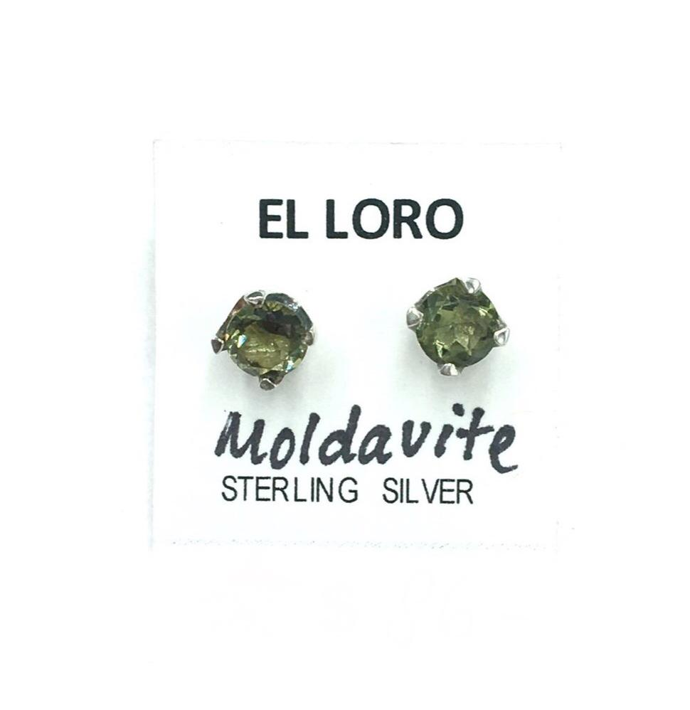 Moldavite Tektite Impact Space Glass Faceted Round Gems Sterling Silver Stud Earrings