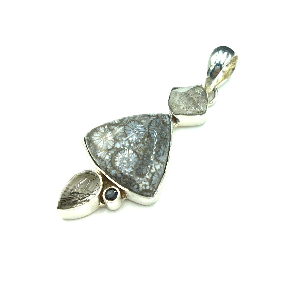 Fossilized Coral Herkimer Diamond Quartz Tourmalinated Quartz Spinel Sterling Silver Pendant