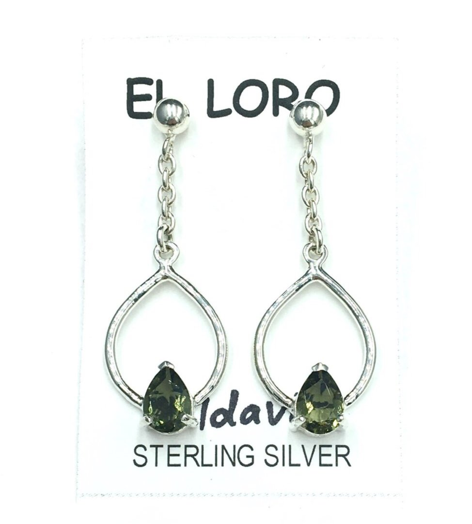 Moldavite Tektite Impact Space Glass Faceted Teardrop Gems Sterling Silver Drop Stud Dangle Earrings