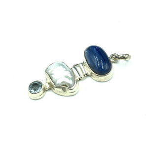 Kyanite Freshwater Cultured Pearl Blue Topaz Sterling Silver Pendant