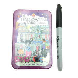 Halloween Tarot Cards Small Deck in a Tin (Pocket Sized Travel Tarot Deck)