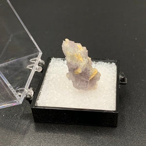 Fluorite on Quartz aft. Laumontite #3 Thumbnail Specimen (Cripple Creek, CO)