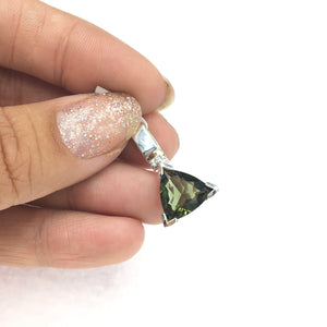 Moldavite Tektite Impact Space Glass Faceted Trillion Sterling Silver Pendant