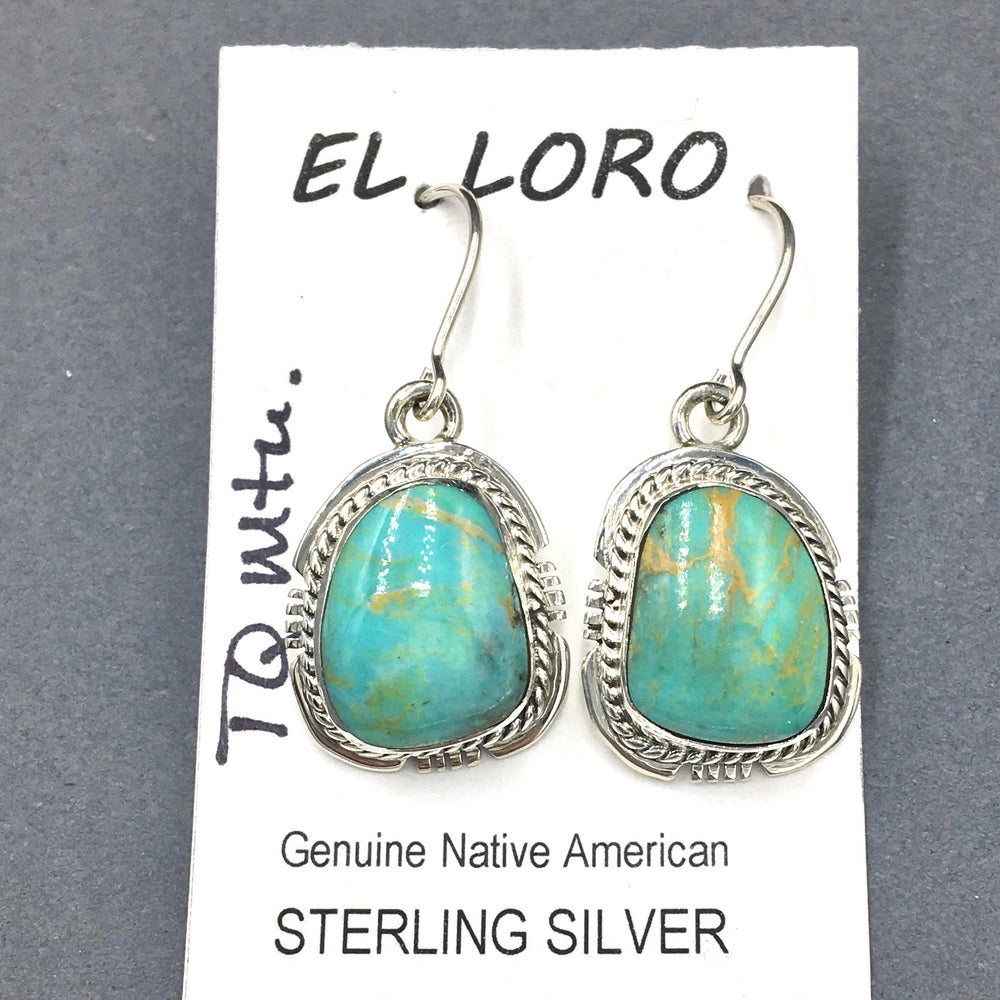 Turquoise Mountain #1 Natural Sterling Silver Dangle Earrings