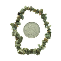Rhyolite Rainforest Jasper Stone Chip Small Bead Stretch Elastic Stone Bracelet
