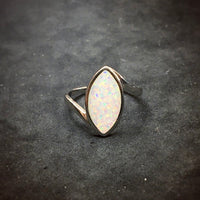 Gilson Opal Ring Marquise Shaped Lab Created Sterling Silver Ring