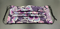 Flowers Print Purple 60s Inspired Cotton Face Mask with Filter Pocket (Adults & Kids Size Options)