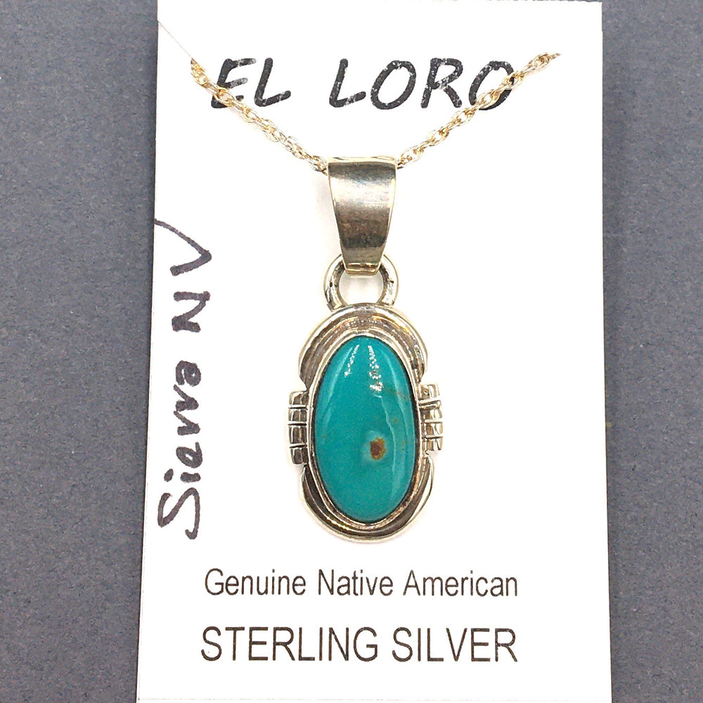 Sierra Nevada Turquoise #1 Natural Stone Sterling Silver Pendant on 18