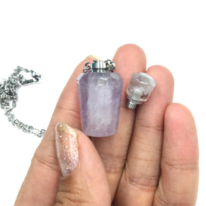 Amethyst Crystal Mini Bottle Gemstone Necklace for Essential Oil Perfume on Stainless Steel Chain