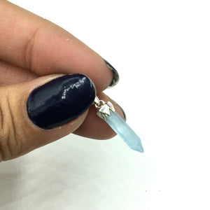 Aquamarine Miniature Crystal Point Sterling Silver Pendant