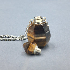 Tiger Eye Crystal Mini Bottle Gemstone Necklace for Essential Oil Perfume  on Stainless Steel Chain