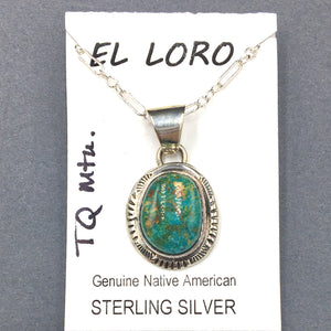 "Turquoise Mountain #1 Natural Stone Sterling Silver Pendant on 18"" Sterling Silver Chain"