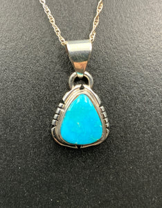 "Kingman Turquoise #11 Natural Sterling Silver Pendant on 18"" Chain"