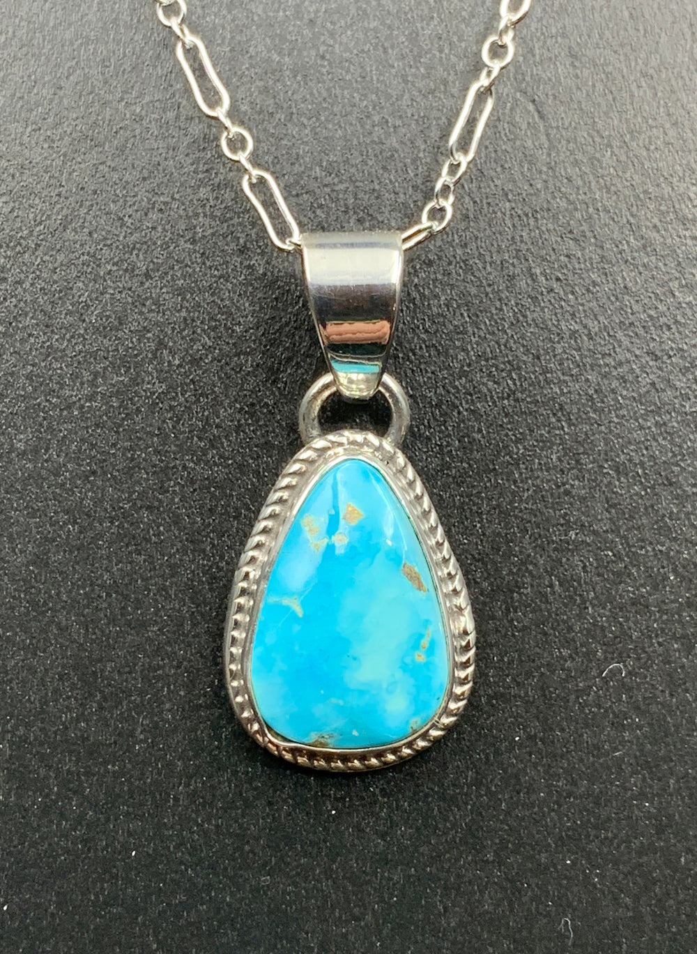 Kingman Turquoise #12 Natural Sterling Silver Pendant on 18