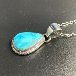 "Kingman Turquoise #12 Natural Sterling Silver Pendant on 18"" Chain"