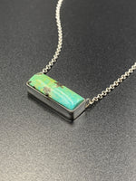 Kingman Turquoise #1 Contemporary Natural Sterling Silver Pendant Necklace