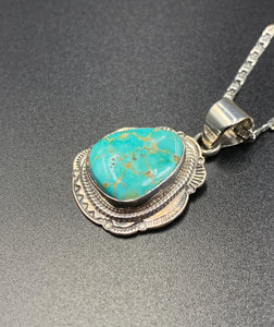 "Kingman Turquoise #2 Natural Sterling Silver Pendant on 18"" Chain"