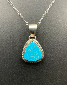 "Kingman Turquoise #6 Natural Sterling Silver Pendant on 18"" Chain"