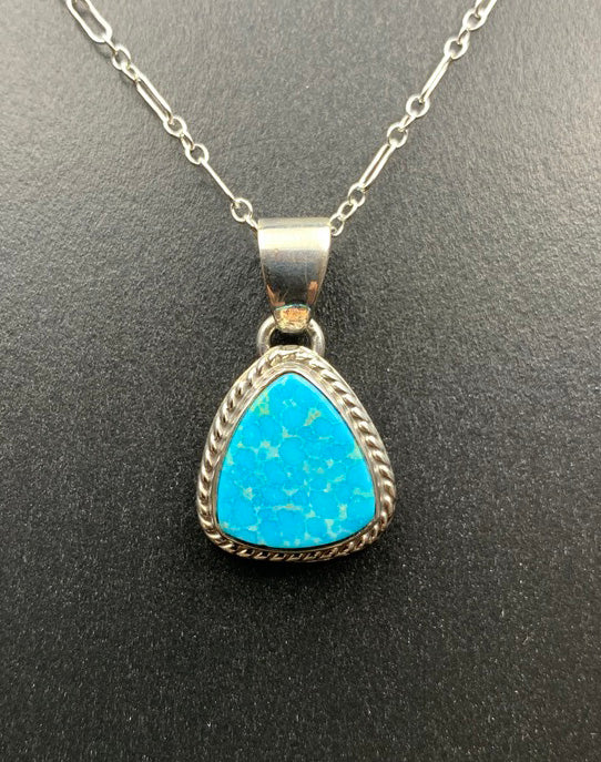 Kingman Turquoise #6 Natural Sterling Silver Pendant on 18