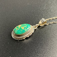 "Kingman Turquoise #7 Natural Sterling Silver Pendant on 18"" Chain"