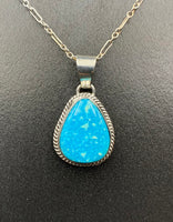 "Kingman Turquoise #8 Natural Sterling Silver Pendant on 18"" Chain"