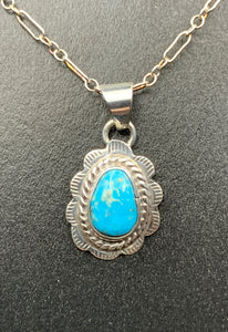 "Kingman Turquoise #9 Natural Sterling Silver Pendant on 18"" Chain"