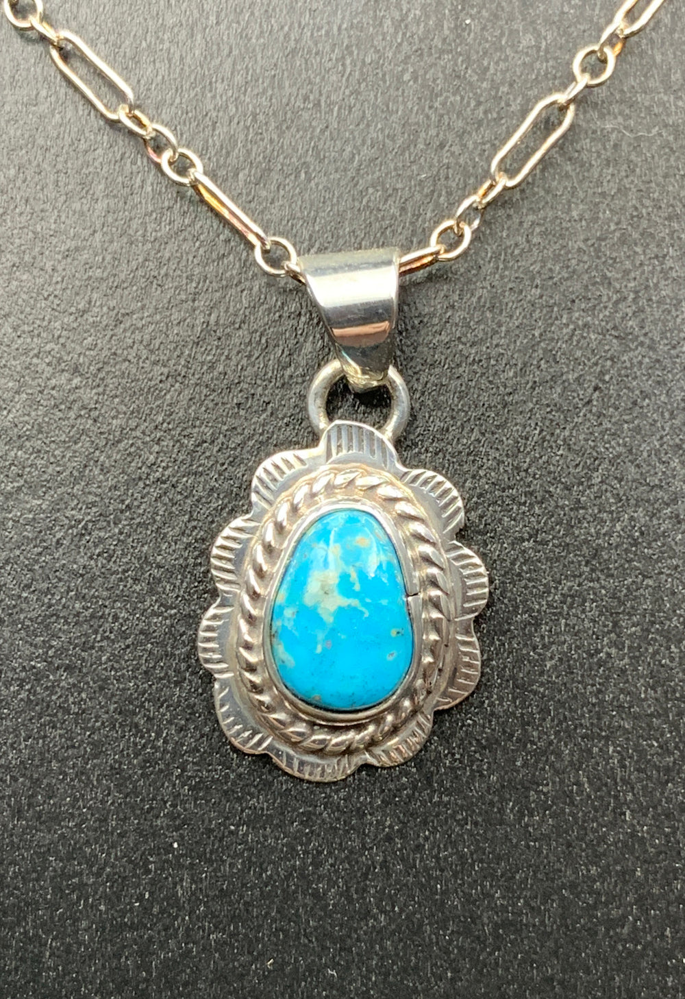 Kingman Turquoise #9 Natural Sterling Silver Pendant on 18