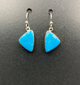 Kingman Turquoise #15 Natural Sterling Silver Dangle Earrings