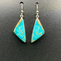 Kingman Turquoise #16 Natural Sterling Silver Dangle Earrings