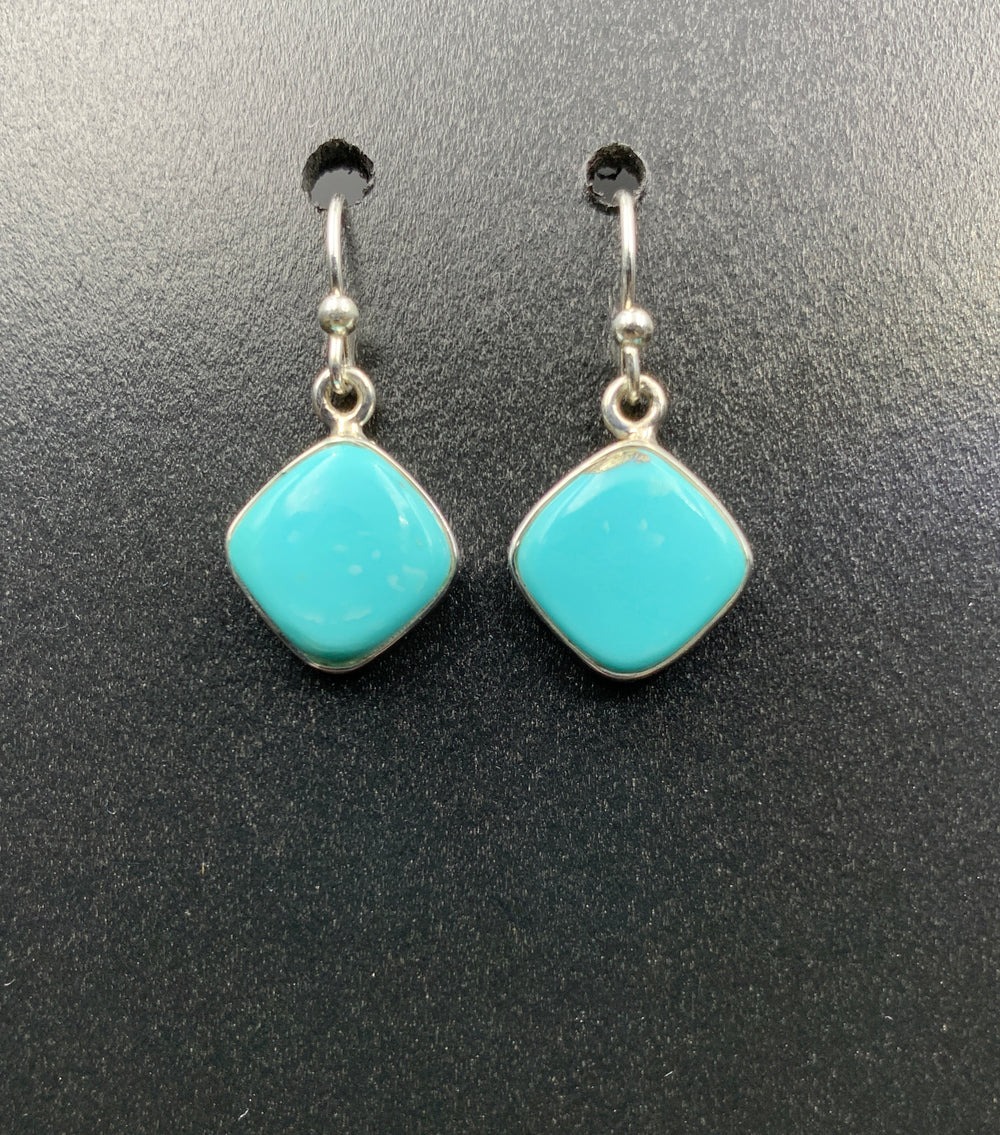 Kingman Turquoise #17 Natural Sterling Silver Dangle Earrings
