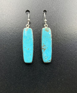 Kingman Turquoise #18 Natural Sterling Silver Dangle Earrings