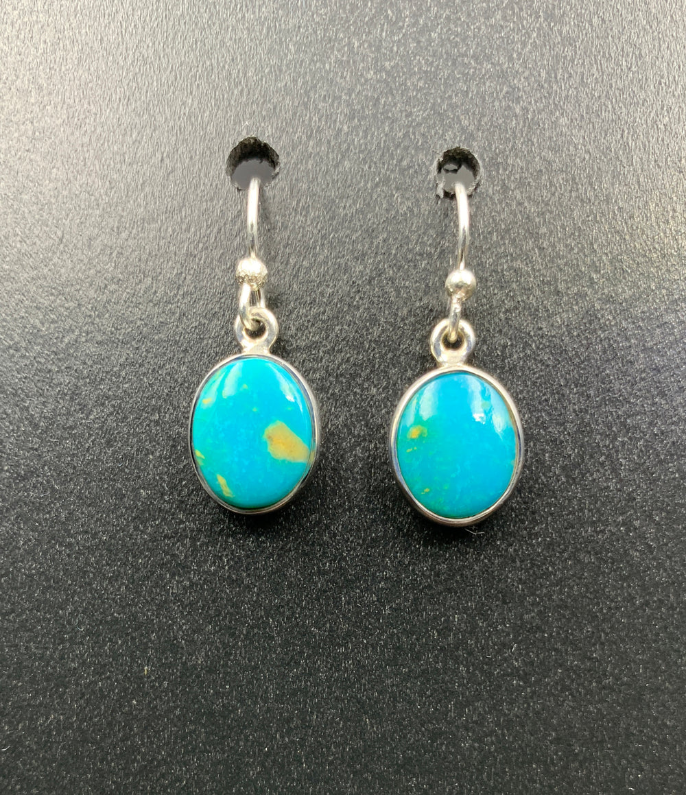Kingman Turquoise #19 Natural Sterling Silver Dangle Earrings