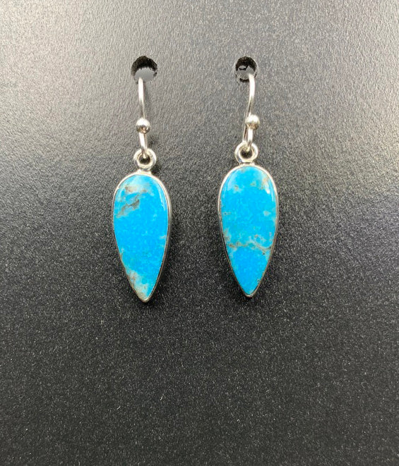 Kingman Turquoise #20 Natural Sterling Silver Dangle Earrings
