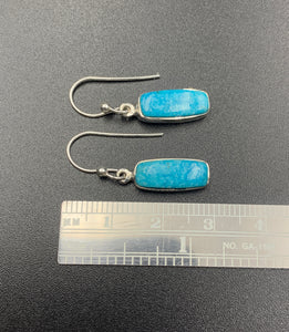 Kingman Turquoise #21 Natural Sterling Silver Dangle Earrings