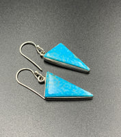 Kingman Turquoise #22 Natural Sterling Silver Dangle Earrings