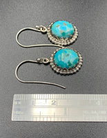 Kingman Turquoise #5 Compressed Sterling Silver Dangle Earrings