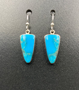 Kingman Turquoise #8 Natural Sterling Silver Dangle Earrings
