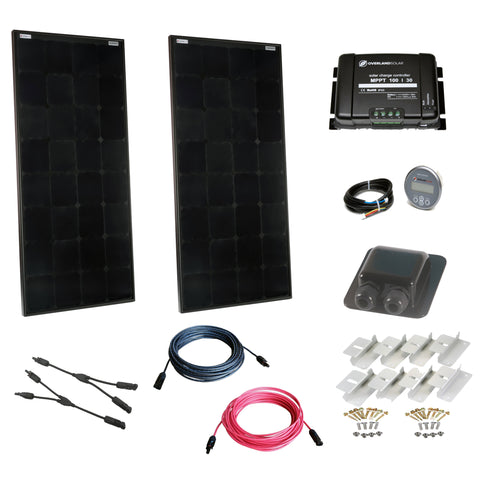 200 Watt Off Grid Cabin Kit with 30 Amp MPPT Controller and Display