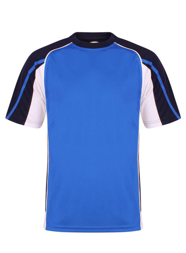 Teamstar crew Sports Top Gazelle Sports UK Yes XS Col A) Royal Blue/ Navy/ White