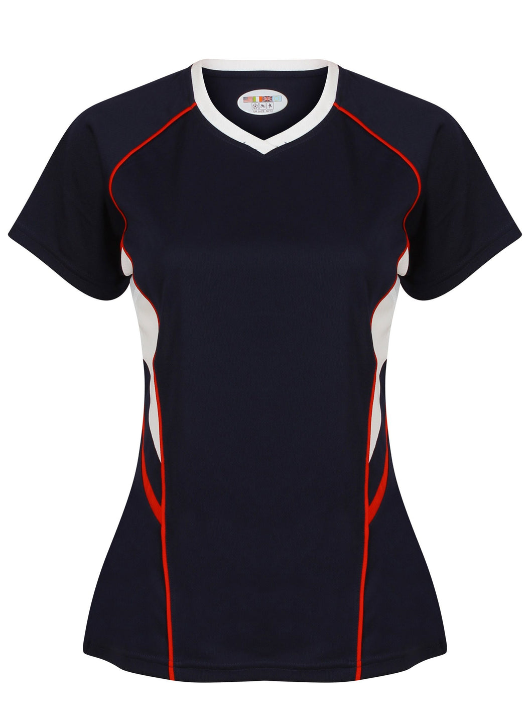 Jenny Ladies Fitted Top Gazelle Sports UK Yes XS/8 Col A) Navy/ White/ Red