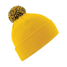 Load image into Gallery viewer, Snowstar Beanie Hat with two Tone Pom Pom Gazelle Sports UK Gold/Black No