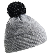 Load image into Gallery viewer, Snowstar Beanie Hat with two Tone Pom Pom Gazelle Sports UK Heather Grey/Black No