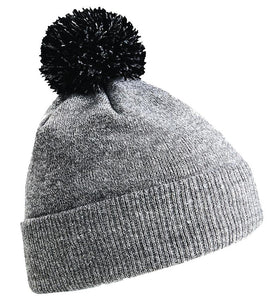 Snowstar Beanie Hat with two Tone Pom Pom Gazelle Sports UK Heather Grey/Black No