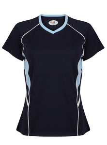 Jenny Ladies Fitted Top Gazelle Sports UK Yes XS/8 Col B) Navy/ Pale Blue/ White