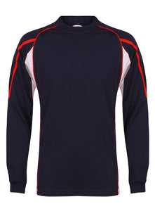 Teamstar Long Sleeve Crew Gazelle Sports UK Yes XS Col B) Navy/ Red/ White