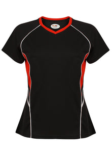 Jenny Ladies Fitted Top Gazelle Sports UK Yes XS/8 Col C) Black/ Red/ White